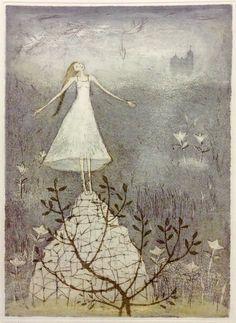 Emmi Vuorinen grafiikkaa teos/taulu Kristallivuori - Life Art Oy Finnish Women, Water Lilies, Make Art, Finland, Printmaking, Projects To Try, Illustration Art, Artsy, Bloom