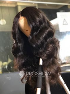 Lace Frontal Human Hair Wigs Pre Plucked Hair Line Body Wave Wig Glueless Remy Hair Natural Black Color Density with Baby Hair for Black Women by YOKADA HAIR lace frontal wig) Human Hair Lace Wigs, Human Hair Wigs, Short Lace Front Wigs, Body Wave Wig, Cheap Human Hair, Black Curly Hair, Long Curly, Weave Hairstyles, Dope Hairstyles