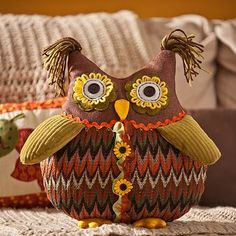 Hoot hoot! Our adorable Chevron Owl Pillow needs a loving home! We love his fun tassels and button eyes! #kirklands #harvest