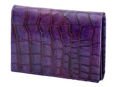 Leather women's wallet with crocodile print violet