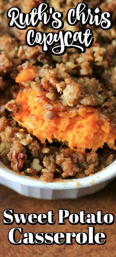 Ruth& Chris Copycat Sweet Potato Casserole is fantastic for the holiday season and goes great with any entree from to Thanksgiving Recipes, Fall Recipes, Holiday Recipes, Thanksgiving Sides, Best Sweet Potato Casserole, Sweet Potato Caserole, Crockpot Sweet Potatoes Casserole, Sweet Potato Suffle, Sweet Potato Crunch