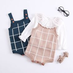 112a006ea US $15.21 10% OFF|Autumn Winter Toddler Infant Kids Baby Girls Clothes  Sleeveless Cotton Plaid Baby Romper Jumpsuit Sweater Knitted Clothes Outfit-in  ...
