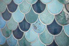 Three Birds Renovations - ensuite tile - fish scale by Amber tiles Australian Interior Design, Renovations, Dream Tile, Tile Inspiration, Three Birds Renovations, Feature Tiles, Santorini House, Tile Stores, Fish Scale Tile