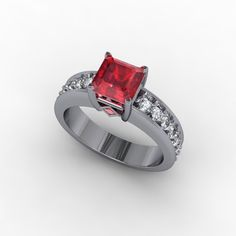 A brilliant ruby in a diamond setting- 3D CAD Jewelry Design- Arwood's Custom Jewelry