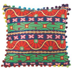Dot & Bo Sunset Waves Throw Pillow ($40) ❤ liked on Polyvore featuring home, home decor, throw pillows, fabric home decor, colorful throw pillows, embroidered throw pillows, multi colored throw pillows и colorful home decor