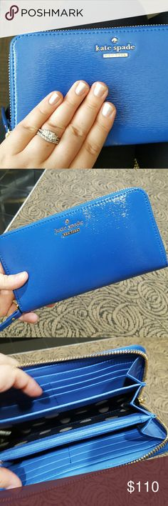 "2x HP! Kate Spade Cedar Street Lacey Wallet Blue HP ""Essential Style"" Party 7/18 and HP ""Style Obsessions"" Party 7/24! The perfect pop of color! Absolutely gorgeous, NWT Kate Spade Cedar Street Lacey zip- around continental wallet in ""Orbit Blue,"" a beautiful, textured patent cobalt blue. 14k gold- plated hardware, exterior slip pocket, 12 credit card slots, 3 billfolds and a zippered center compartment. Approx. 7.5"" in length, 4.5"" in height and 1"" wide. kate spade Bags Wallets"