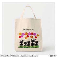 Shop Retired Nurse Whimsical Cats and Flowers Tote Bag created by ProfessionalDesigns. Nurse Retirement Gifts, Nurse Gifts, Animal Skulls, White Shop, Flower Designs, Pink And Green, Cat Lovers, Whimsical, Kids Shop