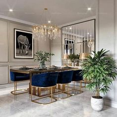 Cool 30 Modern Dining Room Design Ideas That Are Comfortable Elegant Dining Room, Luxury Dining Room, Dining Room Design, Dining Room Furniture, Dining Rooms, Dining Tables, Round Tables, Dining Decor, Dining Room With Mirror