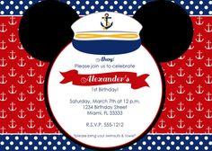 Nautical Mickey Mouse Birthday Invitation
