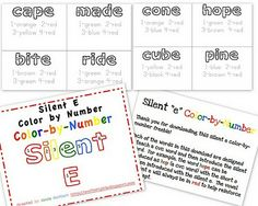 FREE Silent E Color-by-Number Printables!!