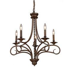 Elk Lighting Gloucester Antique Bronze 5-light Chandelier - Overstock™ Shopping - Great Deals on ELK LIGHTING Chandeliers & Pendants