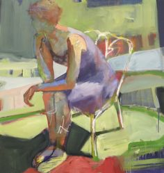 """Melinda Cootsona, """"Hissing of Summer Lawns II"""" 46 x 48 New work at The Studio Shop, Burlingame, CA, oil on canvas"""