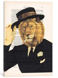 'Vintage Paper Series: Dapper Lion' Graphic Art Print on Canvas