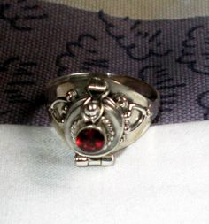 RING - Red GARNET - POISON - Opens - Latch - 925 - Sterling Silver  - size 9 red 121 by MOONCHILD111 on Etsy