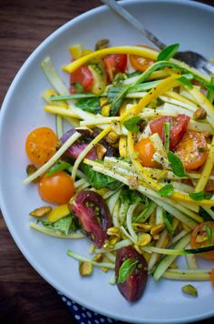 "Summer squash ""pasta"" with fresh tomatoes - Scaling Back"
