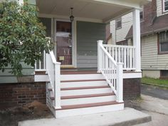 These steps are finished, unlike mine. Painted, properly covered underneath. I like the top matching the porch.