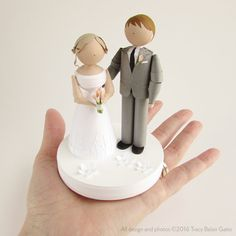 Paper Wedding Cake Topper Bride and Groom figures by runnerbean