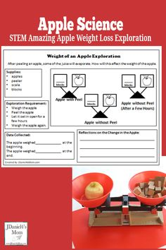 Apple Science- Apple Weight Loss - This apple experiment would fun to do as part of a fall apple unit or a study of Johnny Appleseed. Kids will love using an apple peeler and a scale to find the weigh loss of an apple. There is a free reflection and recor Preschool Science Activities, Apple Activities, Science Classroom, Teaching Science, Science For Kids, Art Activities, Preschool Ideas, Classroom Ideas, Craft Ideas