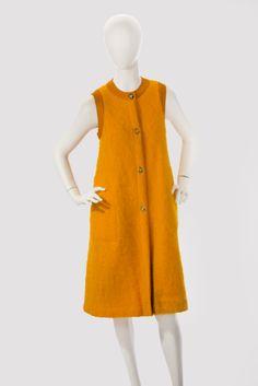.Orange mohair sleeveless vest or coat with suede trim ~ 1960s Bonnie Cashin ~
