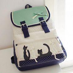 Japanese harajuku cat canvas backpack from Asian Cute {Kawaii Clothing} Handbags On Sale, Luxury Handbags, Purses And Handbags, Totoro Backpack, Fashion Bags, Fashion Backpack, Japanese Harajuku, Kawaii Accessories, Girl Backpacks