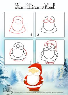 noel baba Wie zeichnet man den We - noel Christmas Doodles, Christmas Drawing, Kids Christmas, Doodle Drawings, Easy Drawings, Doodle Art, Drawing For Kids, Art For Kids, Crafts For Kids