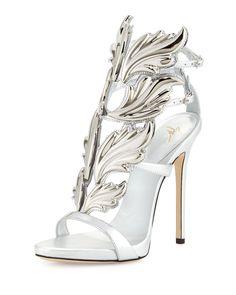 Coline Wings Leather High-Heel Sandal, Argento, Women's, Size: 10.5B/40.5EU - Giuseppe Zanotti