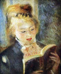 """1874 - LA LISEUSE  Renoir travaillant sur une toile aperçut son modèle au repos dans un coin ensoleillé de l'atelier et saisi par l'éclat du visage en lumière réfléchie s'empara d'une autre toile Elle avait """"une peau qui prend la lumière"""" La lumière renvoyée par le livre rend les ombres du visage transparentes Variété de teintes fraîches La tête rayonne comme éclairée de l'intérieur L'aisance naturelle de la pose rappelle la meilleure peinture du 18ème siècle Des touches rapides font…"""