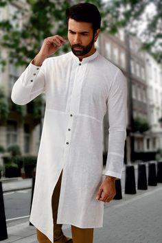 Buy White Cotton Kurta With Churidar Online Samyakk Bangalore Pathani Kurta, Kurta Men, Mens Kurta Designs, Mens Fashion Blazer, Indian Men Fashion, Indian Man, Sherwani, Churidar, Chef Jackets