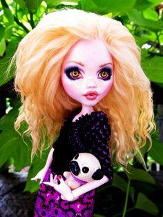 Draculaura with blond Tibetan Lamb hair. Custom Monster High Doll OOAK Repaint Makeover Doll    www.fantasydollsbyd.com  Ebay: Fantasy-dolls-by-donna-anne  Etsy: Fantasydolls