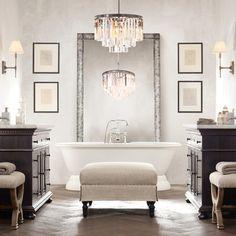 Modern Home Decor Interior Design Bathroom Mirror Design, Bathroom Trends, Bathroom Chandelier, Bathroom Lighting, Bathroom Ideas, Bathroom Designs, Houzz Bathroom, Bathroom Wall, Kmart Bathroom
