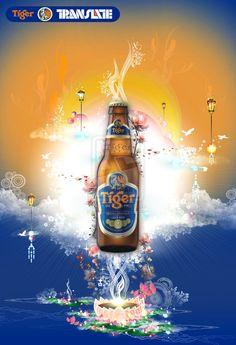 Tiger Beer Transalte. Tiger Beer, Premium Beer, Creative Posters, Advertising Photography, Oclock, Predator, Bottle, World, Photography Ideas