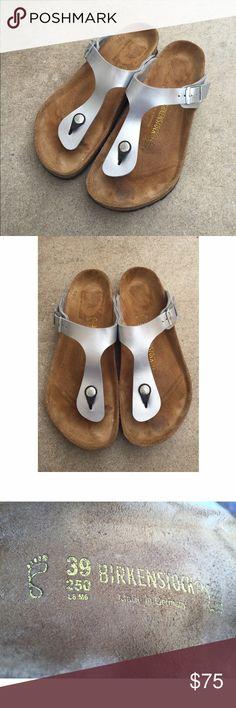 New 'Gizeh' Birkenstocks Brand new 'Gizeh' Birkenstocks in silver. Size 39, which fits women's 8.5-9. No trades. Birkenstock Shoes Sandals
