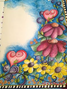 Doodling in my Art Journal - colouring with Derwent Inktense pencil crayons