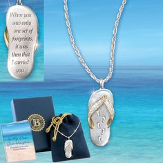 """Footprints in the Sand"" Granddaughter Crystal Pendant, an exclusive design from The Bradford Exchange. This hand-crafted pendant features a unique sandal design in solid sterling silver with 24K-gold-plated accents and a pavé of Swarovski crystals across the strap. The inside of the sandal is engraved with a path of footprints. Engraved on the reverse side are reads, ""When you saw only one set of footprints, it was then that I carried you"" taken from the Footprints poem."