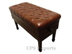 """Walnut Duet Size Leather Adjustable Artist Concert Piano Bench by CPS. $329.99. The Duet Size Leather Adjustable Artist Concert Piano Bench is 34.5"""" long and 16"""" deep. It weighs about 57 pounds. Its height can be adjusted from 18 1/2"""" to 21"""".  The concert piano bench is made of solid hard wood with heavy duty mechanism (silent micro adjustment). The seat is covered with 100% premium genuine leather. The leather we use on our bench is the top quality leather you can find. It's th..."""