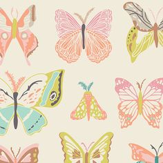 Butterfly Fabric by Art Gallery Fabrics, Wingspan Melon by Bonnie Christine, Butterfly Cotton Fabric by ModernFabricBoutique on Etsy