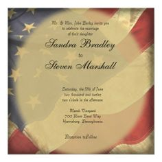 American Flag Wedding Invitations Military and patriotic themed