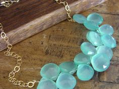 Statement Necklace Gold Holiday ice blue  by OliviaClare on Etsy, $75.00