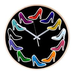 Colorful kitsch! High Heel Wooden Wall Clock