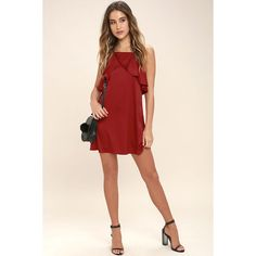 Spice Twirl Dark Red Satin Dress ($26) ❤ liked on Polyvore featuring dresses, pink dress, apron dress, dark red dress, sexy pink dress and sexy cocktail dresses