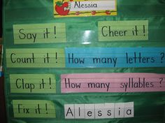 Name of the day--count letters, count syllables, fix it (puzzle) Could do word of the week to reinforce sight words or new words for those high flyers!