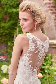 Elegant sheath gown - lace wedding dress with  V-neckline, illusion straps, and illusion back accented in lace motifs - Piper from Rebecca Ingram by @maggiesottero
