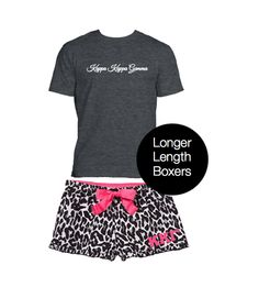 Kappa Kappa Gamma Boxer Shorts in fun leopard with pink accents and pink stitched Greek letters. Sorority pajama pants in coordinating pattern. You will love our sorority Boxer Shorts. #kappakappagamma #kappa http://manddsororitygifts.com/shop-by-sorority-store/