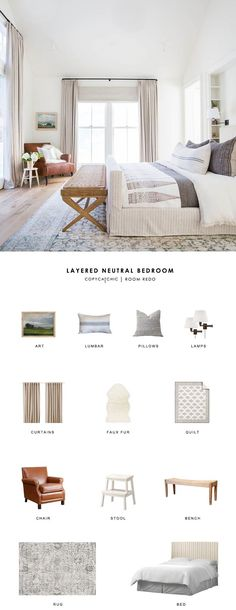 Copy Cat Chic Room Redo A traditional modern neutral bedroom by Amber Interiors gets recreated for less by copycatchic luxe living for less budget home decor and design Home Decor Bedroom, Diy Home Decor, Bedroom Ideas, Master Bedroom, Diy Bedroom, Bedroom Chair, Bedroom Modern, Design Bedroom, Bed Room