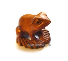 Carved Boxwood Netsuke Frog