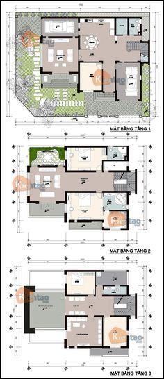 Mặt bằng kỹ thuật tham khảo dành cho mẫu nhà biệt thự đẹp 3 tầng 135m2, Thiết kế nhà đẹp hiện đại