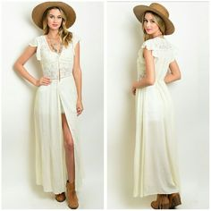 The Juliet Long Tunic Cream long boho chic Tunic that features Lace contrast, and ties at the back absolutely stunning Wear with shorts or skinny jeans, pair with gladiator sandals for a boho chic look Material is polyester,  cotton, and polymide Boutique quality Size S M L  Price Firm unless bundled  Small Bust measures 18 inches  Medium Bust measures 19 inches  Large Bust measures 20 inches   Length measures 53 inches long Boutique  Tops Tunics