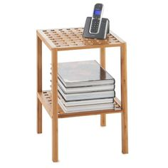 Web Image Gallery VonHaus Wooden Bamboo Tier Free Standing Shelf Side Table suitable for bathrooms living rooms offices hallways or storage lattice e