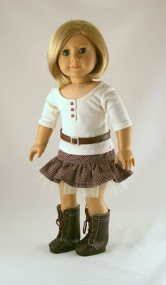American Girl Doll Clothes - Tee with Placket, Ruffled Skirt, and Belt