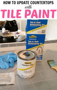 How to paint tile countertops! This is SO great for outdated kitchens and bathrooms. So glad I found this! This is done with Homax Tub & Tile Paint. Kitchen Paint, Kitchen Tiles, Kitchen Decor, Paint Bathroom, Kitchen Design, Painting Bathtub, Basement Kitchen, Bathroom Closet, Hall Bathroom